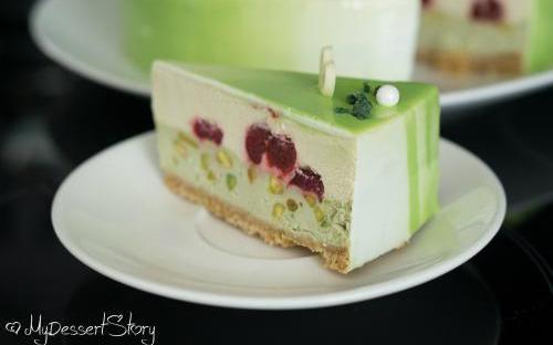 MyDessertStory, торты на заказ, Чизкейк Мозаик (фисташка/вишня)