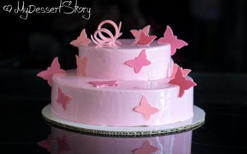 MyDessertStory, торты на заказ, Торт Клубника-Ваниль (ванильный бисквит, хрустящий слой, клубничный мусс и кули, ванильный мусс)