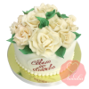 Свадебный Торт белый с розами на заказ, Кондитерская фабрика Любава